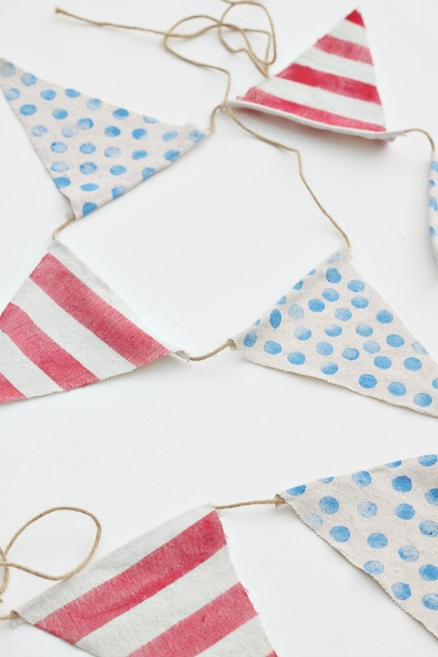 Over 30 Patriotic Recipes, Crafts, and Home Decor Ideas, including this Trash to Treasure Bunting from Reinvented! These fun and easy red, white, and blue ideas are perfect for celebrating every patriotic summer occassion ... 4th of July, Memorial Day, and more!   Hello Little Home