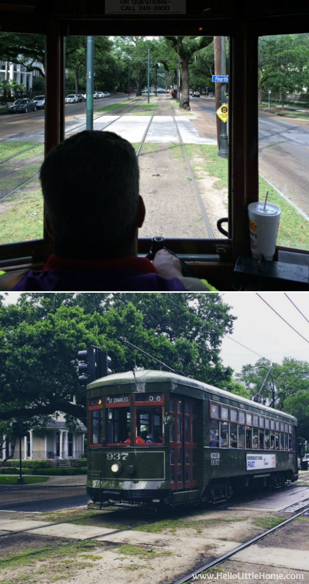 Spend a weekend in New Orleans with me! Riding the St. Charles Streetcar through Uptown and the Garden District in NOLA! | Hello Little Home