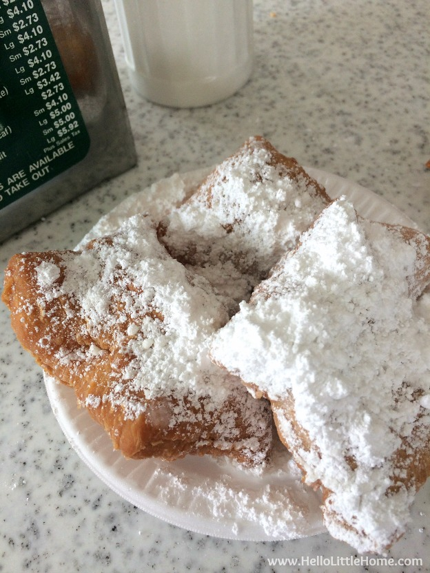 Spend a weekend in New Orleans with me! No trip to NOLA is complete without a stop, or two, at Cafe Du Monde! | Hello Little Home