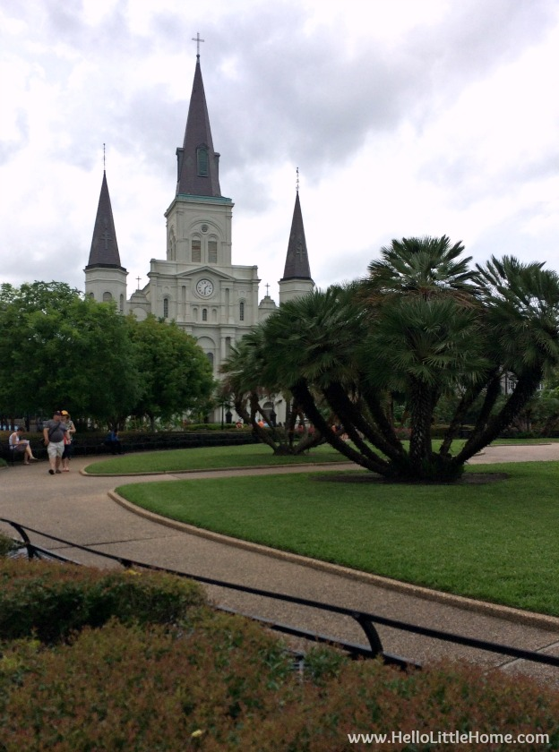 Spend a weekend in New Orleans with me! Exploring the French Quarter, one of my favorite and most popular neighborhoods in NOLA! View of St. Louis Cathedral from Jackson Square | Hello Little Home