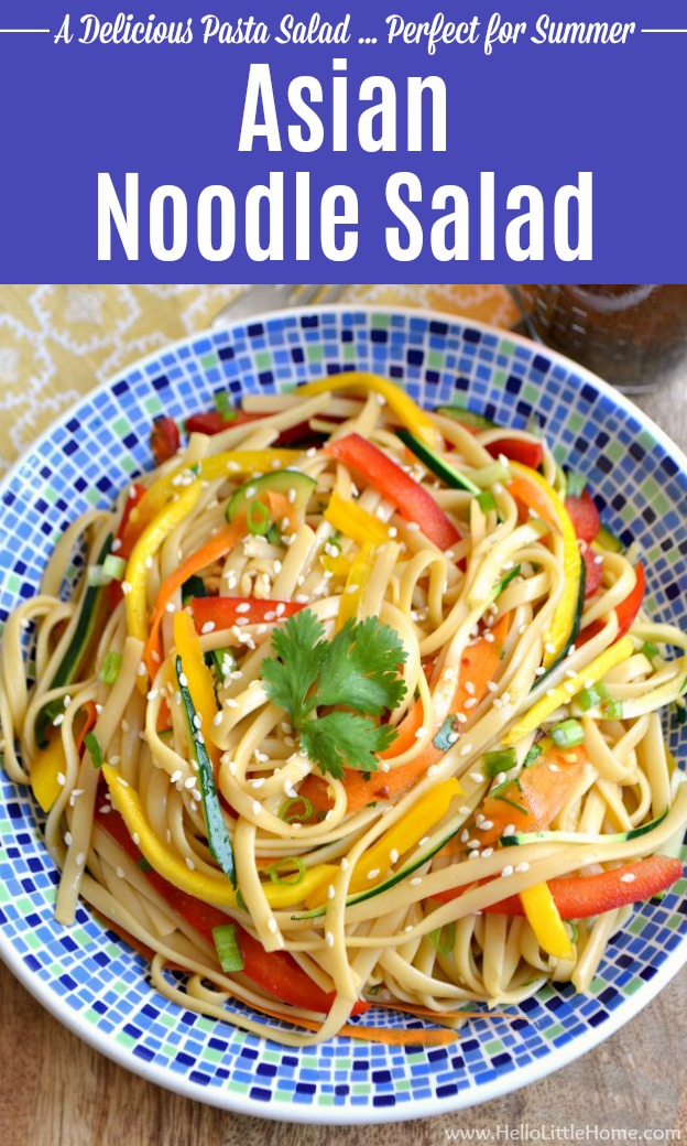 This Cold Asian Noodle Salad is a delicious and easy recipe that\'s the perfect addition to your summer BBQ or party! This simple vegetarian Pasta Salad is packed with veggies and tons of flavor ... make it tonight! | Hello Little Home #pastasalad #coldpastasalad #asianpastasalad #noodles #noodlesalad #coldnoodlesalad