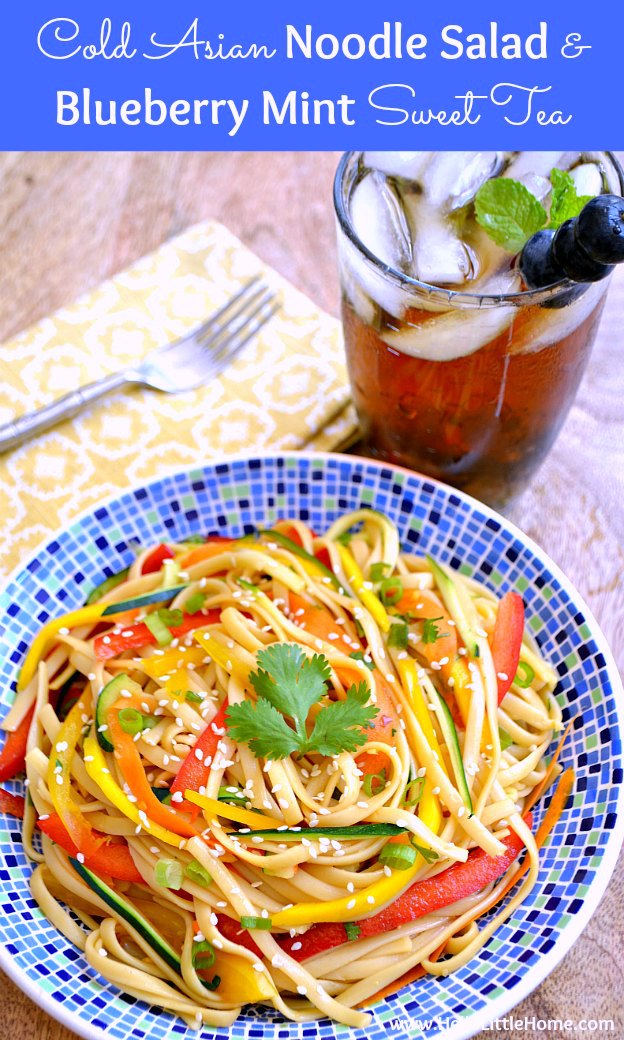 The perfect pairing ... Cold Asian Noodle Salad and Blueberry Mint Sweet Tea! These delicious and easy recipes are the perfect addition to your summer BBQ or party! | Hello Little Home