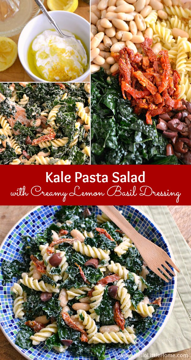 Easy step-by-step directions for a Kale Pasta Salad with Creamy Lemon Basil Dressing recipe ... a super delicious + healthy pasta salad that is seriously crave worthy! | Hello Little Home