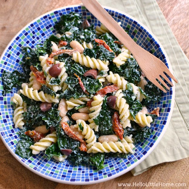Kale Pasta Salad with Creamy Lemon Basil Dressing