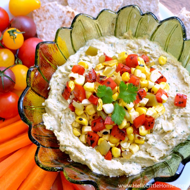 Southwestern Hummus with Spicy Corn Relish Hello Little Home