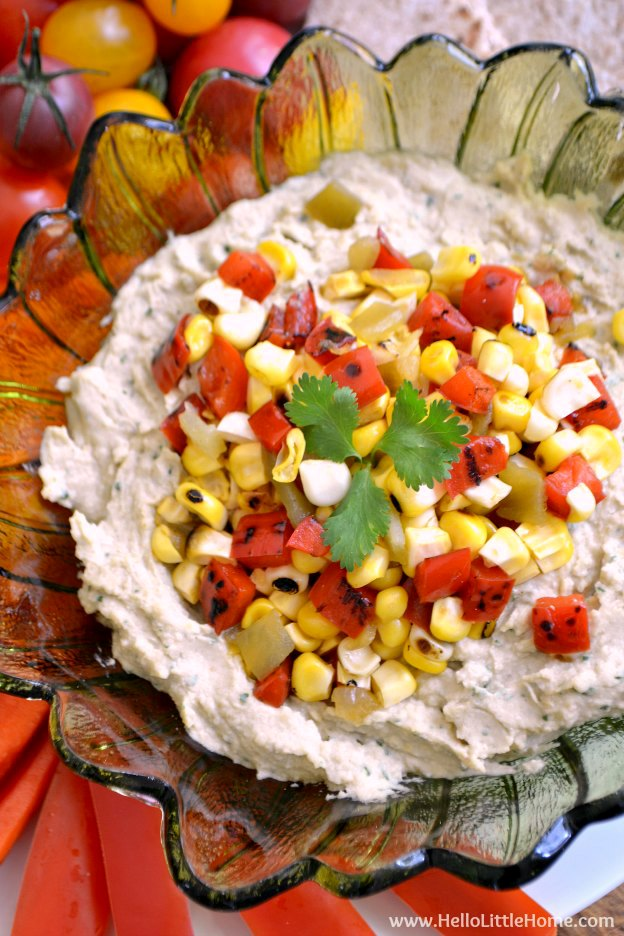 Southwest Hummus with Spicy Corn Relish ... yum! Get this easy recipe + 100 other vegetarian fall recipes that are perfect for any occassion! | Hello Little Home