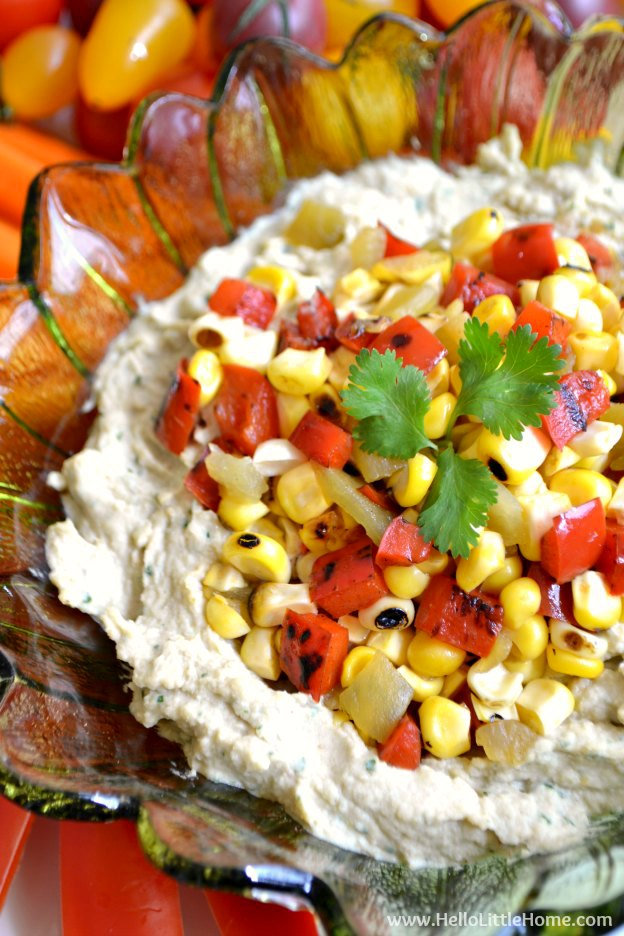 Southwest Hummus with Spicy Corn Relish ... a delicious twist on classic hummus! This southwest-inspired recipe makes a great party appetizer or healthy snack! | Hello Little Home