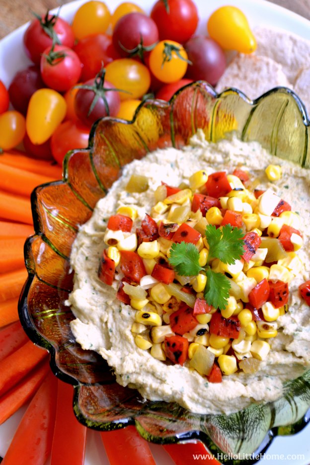 Southwest Hummus with Spicy Corn Relish ... one of 100 Vegetarian Game Day Recipes! Get ready for the big game with over 100 vegetarian and vegan appetizers, soups, chilis, main dishes, sandwiches, breakfast, desserts, and more that will make your next football watching party unforgettable! | Hello Little Home