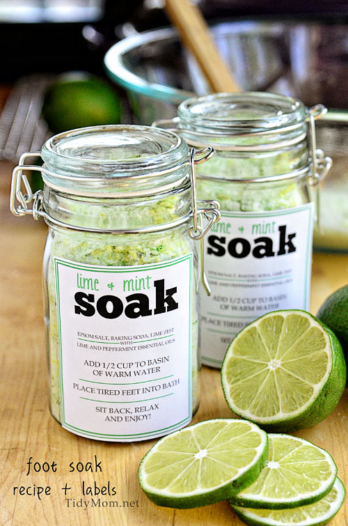 Lime + Mint Foot Soak from Tidy Mom, one of over 20 DIY Beauty Treatments that are full of healthy ingredients to soothe your skin, moisturize your hair, and pamper your feet! Give one as a DIY beauty gift to someone special! | Hello Little Home