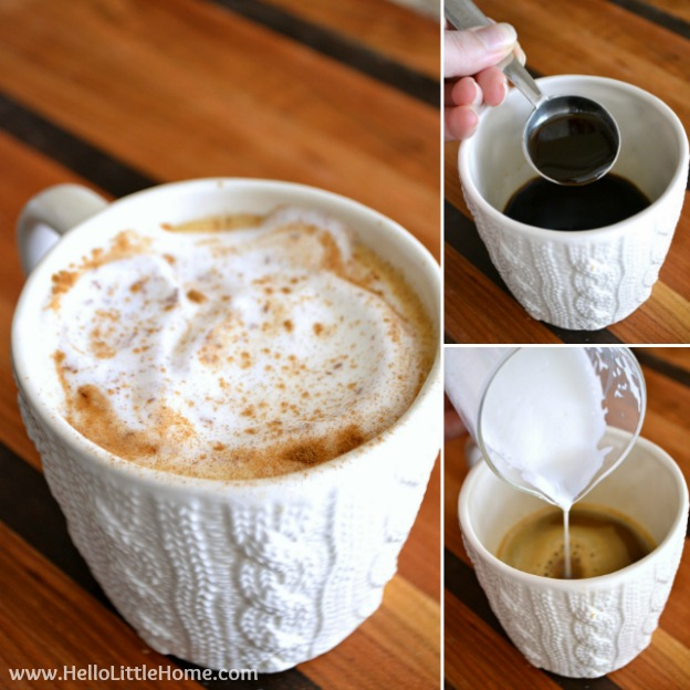Use my delicious Cinnamon Brown Sugar Coffee Syrup to upgrade your latte! | Hello Little Home