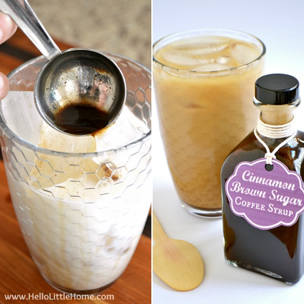 Use my delicious Cinnamon Brown Sugar Coffee Syrup to upgrade your iced coffee! | Hello Little Home