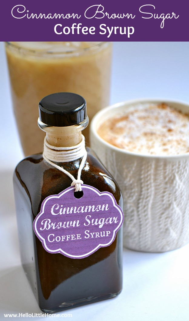 This delicious Cinnamon Brown Sugar Coffee Syrup is the perfect addition to your morning coffee! Add this homemade coffee syrup to an iced coffee, use it to make a latte, or attach the free printable gift tag and give it to your favorite coffee lover!   Hello Little Home