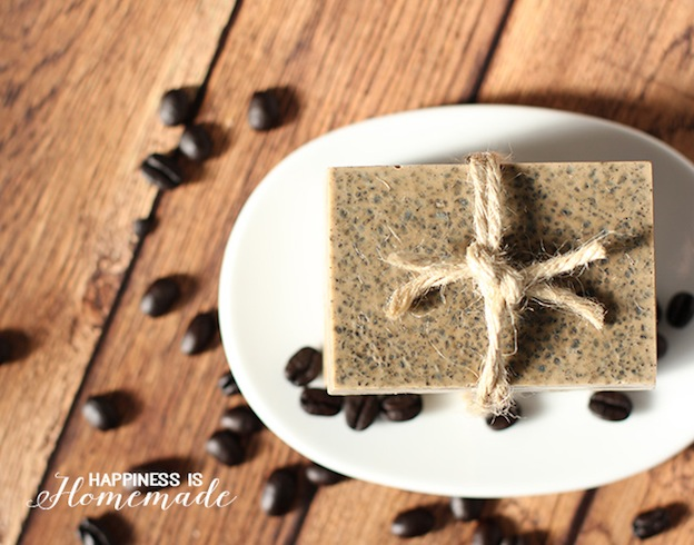 Coffee and Milk Exfoliating Soap from Happiness is Handmade, one of over 20 DIY Beauty Treatments that are full of healthy ingredients to soothe your skin, moisturize your hair, and pamper your feet! Give one as a DIY beauty gift to someone special! | Hello Little Home