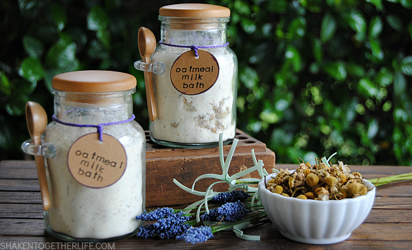 Chamomile Lavender Oatmeal Milk Bath from Shaken Together Life, one of over 20 DIY Beauty Treatments that are full of healthy ingredients to soothe your skin, moisturize your hair, and pamper your feet! Give one as a DIY beauty gift to someone special! | Hello Little Home