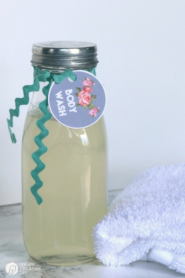 Homemade Body Wash from Today's Creative Life, one of over 20 DIY Beauty Treatments that are full of healthy ingredients to soothe your skin, moisturize your hair, and pamper your feet! Give one as a DIY beauty gift to someone special! | Hello Little Home