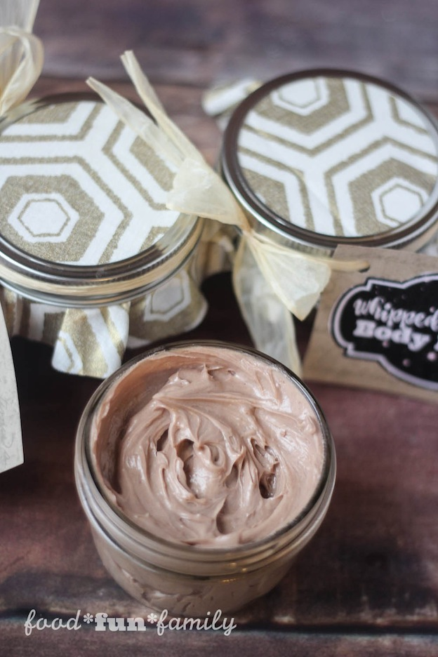 Whipped Chocolate Body Butter from Food Fun Family, one of over 20 DIY Beauty Treatments that are full of healthy ingredients to soothe your skin, moisturize your hair, and pamper your feet! Give one as a DIY beauty gift to someone special! | Hello Little Home