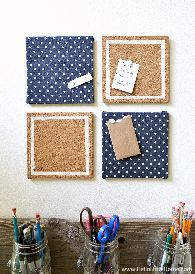 Get organized with a cute DIY Custom Memo Board! This easy to make DIY bulletin board is the perfect additon to a dorm room or any office space! | Hello Little Home