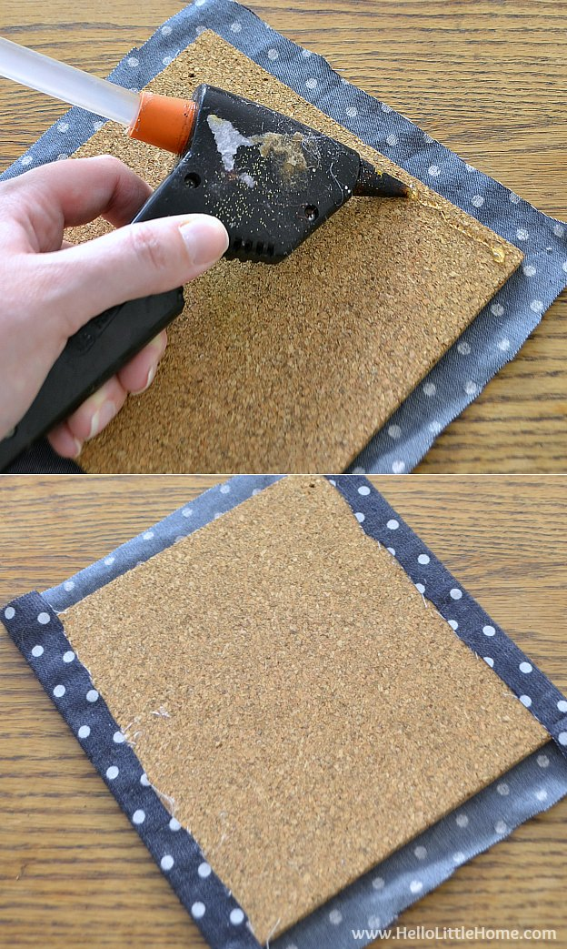Step by step instructions for making a cute DIY Custom Memo Board! This easy to make DIY bulletin board is the perfect way to get organized in a dorm room or office space! | Hello Little Home