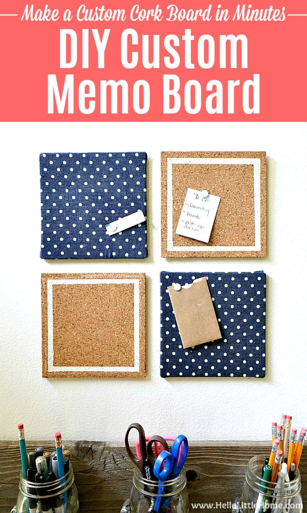 DIY Custom Memo Boards decorated with fabric and paint.