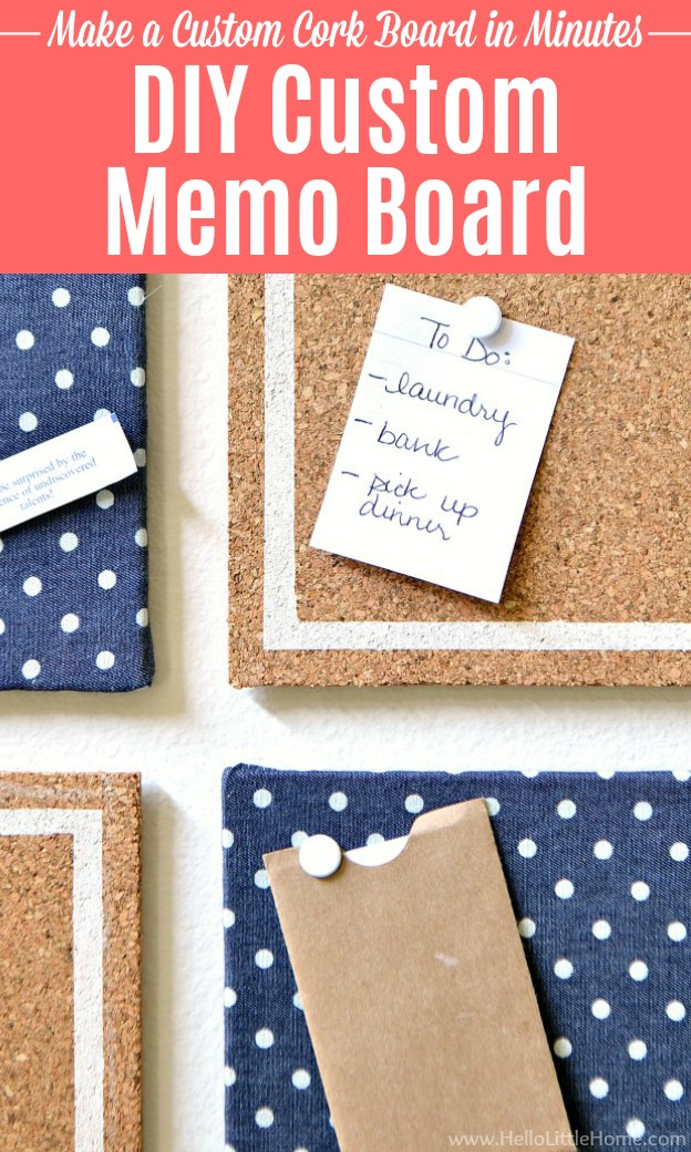 A DIY Memo board decorated with fabric and paint.