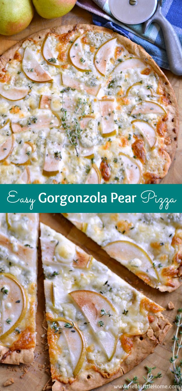 Easy Gorgonzola Pear Pizza ... so delicious and so simple to make! This easy vegetarian recipe is a quick + delish weeknight dinner solution, and it's perfect for parties, too! | Hello Little Home
