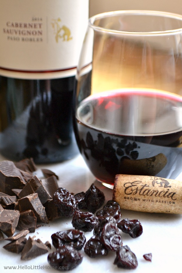 The perfect pairing ... Estancia Cabernet Sauvignon with dried cherries and dark chocolate! | Hello Little Home