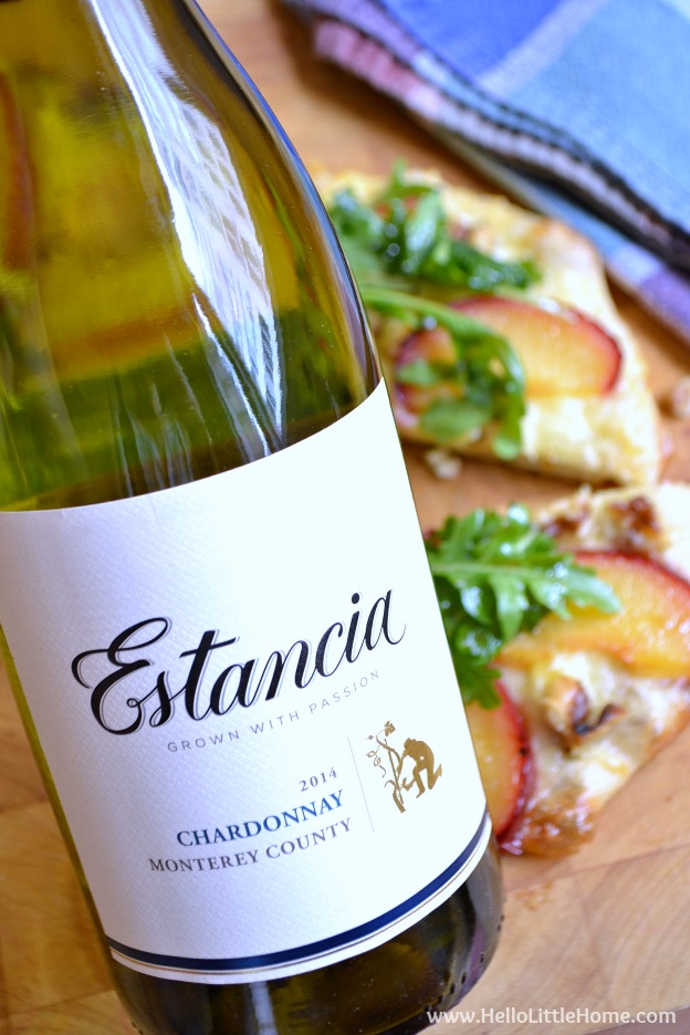 The perfect pairing ... Estancia Chardonnay with Fresh Plum, Walnut, and Gouda Pizza! | Hello Little Home
