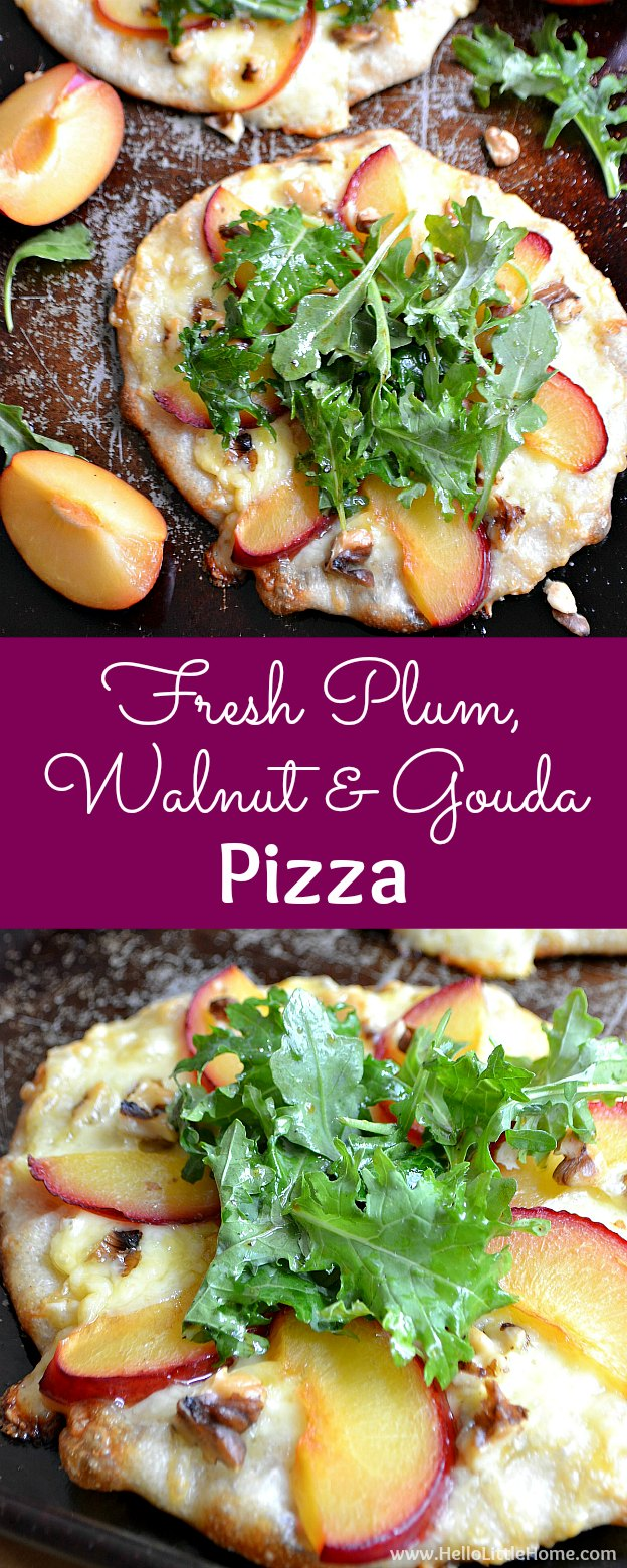 Fresh Plum, Walnut, and Gouda Pizza recipe! Learn how to make this unique, gourmet pizza recipe that's perfect for summer entertaining. This creative and easy vegetarian pizza recipe is topped with fresh fruit, crunchy walnuts, flavorful gouda cheese, and a quick, tasty salad. Serve these individual pizzas at your next party or for an easy weeknight dinner! | Hello Little Home