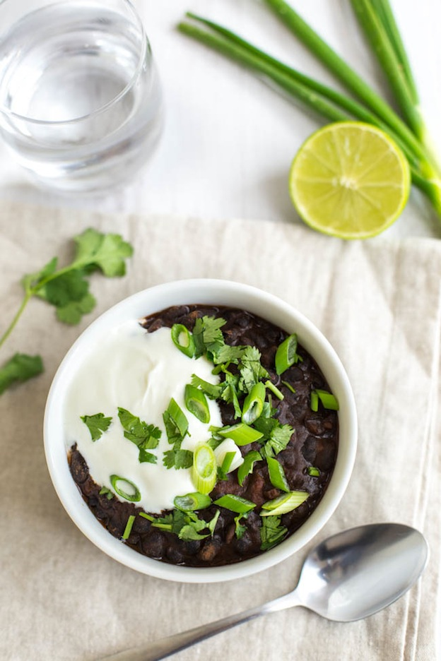 40+ Hearty Vegetarian Soup Recipes, including this 15 Minute Black Bean Soup from Amuse Your Bouche, that will warm you up this fall and winter! | Hello Little Home