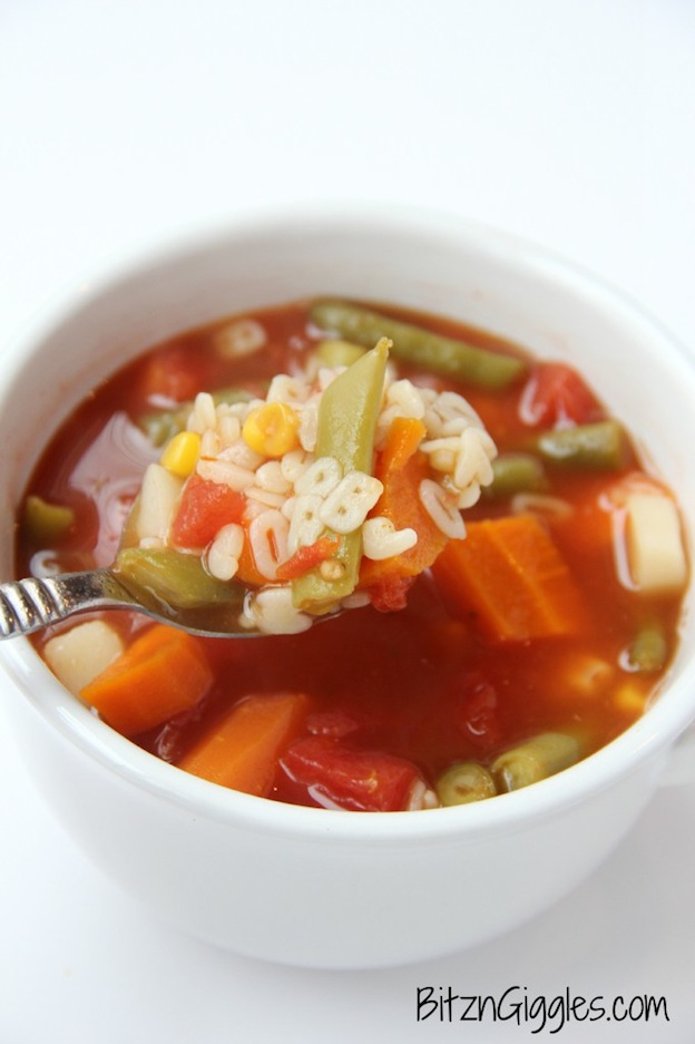 40+ Hearty Vegetarian Soup Recipes, including this Alphabet Vegetable Soup from Bitz & Giggles, that will warm you up this fall and winter! | Hello Little Home