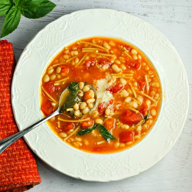 40+ Hearty Vegetarian Soup Recipes, including this Pasta e Fagioli from A Dish of Daily Life, that will warm you up this fall and winter! | Hello Little Home