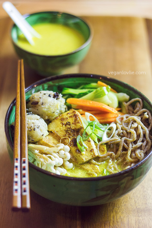 40+ Hearty Vegetarian Soup Recipes, including this Coconut Curry Ramen Noodle Soup from Vegan Lovlie, that will warm you up this fall and winter! | Hello Little Home