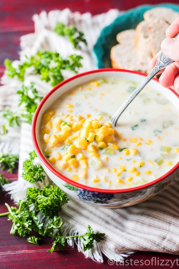 40+ Hearty Vegetarian Soup Recipes, including this Cream of Corn Soup from Tastes of Lizzy T, that will warm you up this fall and winter! | Hello Little Home