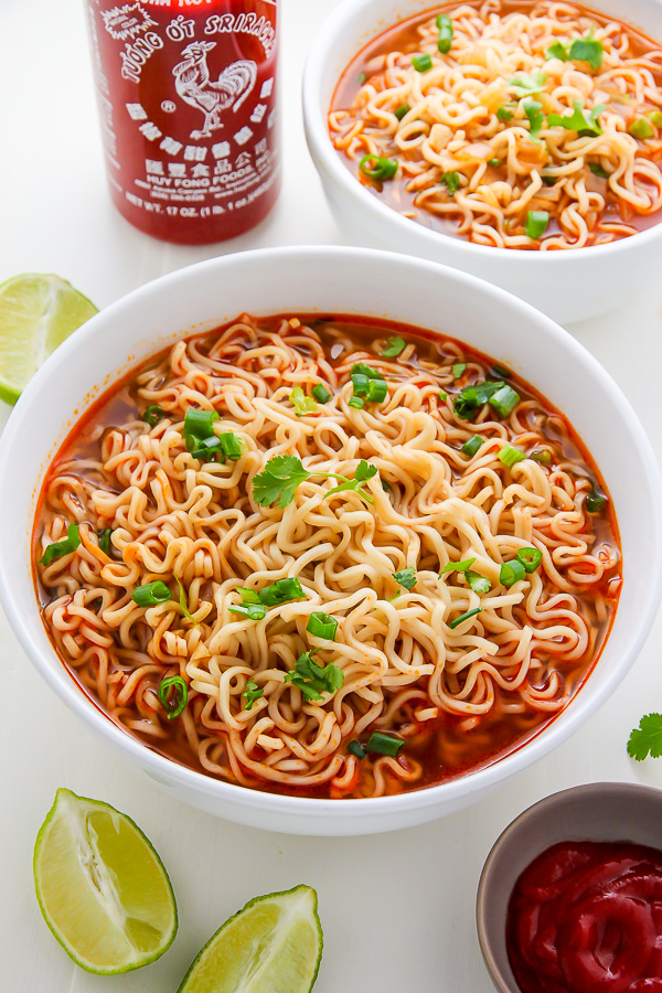 40+ Hearty Vegetarian Soup Recipes, including this Spicy Sriracha Ramen Noodle Soup from Baker By Nature, that will warm you up this fall and winter! | Hello Little Home