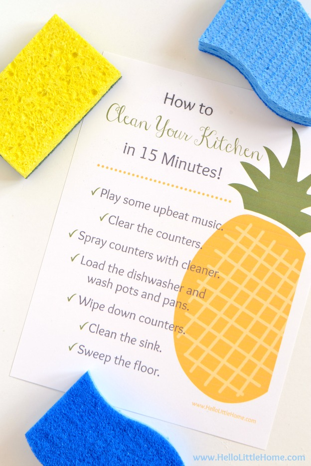 FREE How to Clean Your Kitchen in 15 Minutes Printable ... makes a great housewarming gift (frame it) or keep it for yourself! | Hello Little Home