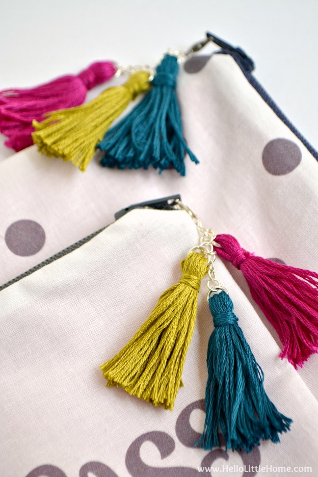 """Learn how to make a cute """"Like a Boss"""" DIY Zipper Pouch! This easy tutorial covers all the steps - from sewing the pouch to making the tassels - plus, learn how to create your own custom design! 