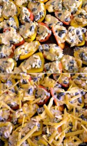 Easy step by step recipe for cheesy, delicious Mini Bell Pepper Nachos! This awesome vegetarian appetizer is full of flavor and packed with fresh veggies, and it's perfect for serving on game day or any party!   Hello Little Home