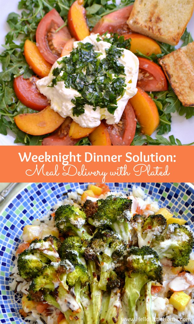 If you're struggling to get dinner on the table, meal delivery from Plated is the perfect weeknight dinner solution! Get a FREE dinner for 2 with your first box using my link! | Hello Little Home