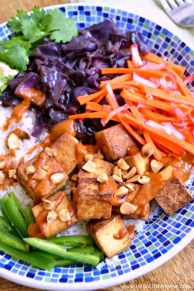 Banh Mi Bowl with Vietnamese Peanut Sauce ... yum! This irresistibly delicious vegan bowl recipe is a colorful and creative spin on a classic vegetarian Banh Mi sandwich! | Hello Little Home