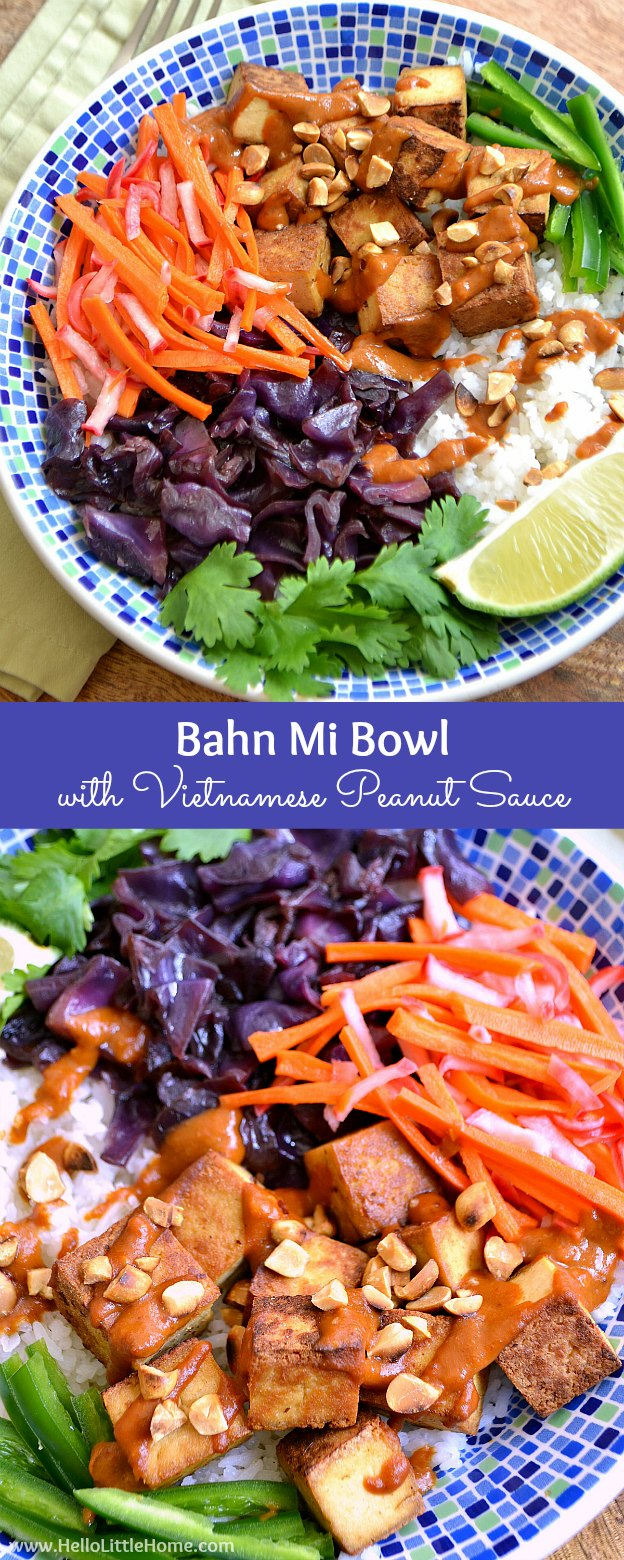 Bahn Mi Bowl with Vietnamese Peanut Sauce ... yum! This irresistibly delicious vegan bowl recipe is a colorful and creative spin on a classic vegetarian Bahn Mi sandwich!   Hello Little Home