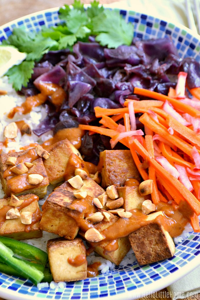 A Banh Mi Bowl with tofu, veggies, and Vietnamese peanut sauce.