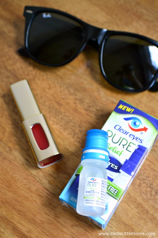 Daily essentials: lip gloss, sunglasses, and Clear Eyes Pure Relief Eye Drops! | Hello Little Home