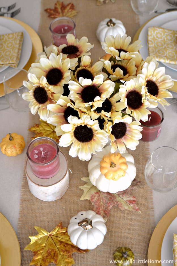 Fall Inspired Tablescape ... celebrate the season with a gorgeous and easy to create autumn inspired table setting! Plus, get my Free Printable Leaf Placecards! | Hello Little Home