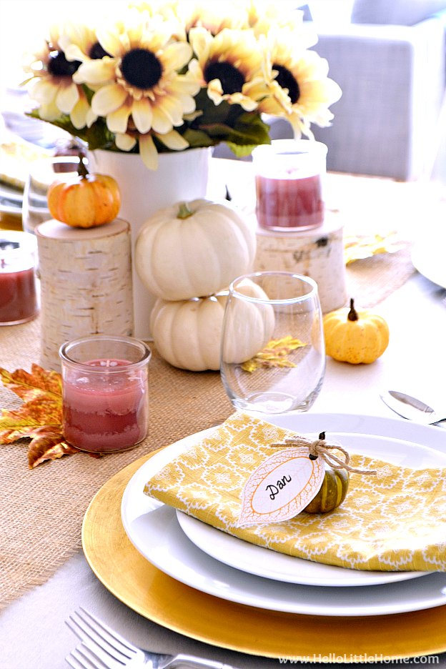 Fall inspired tablescape with glowing light. | Hello Little Home