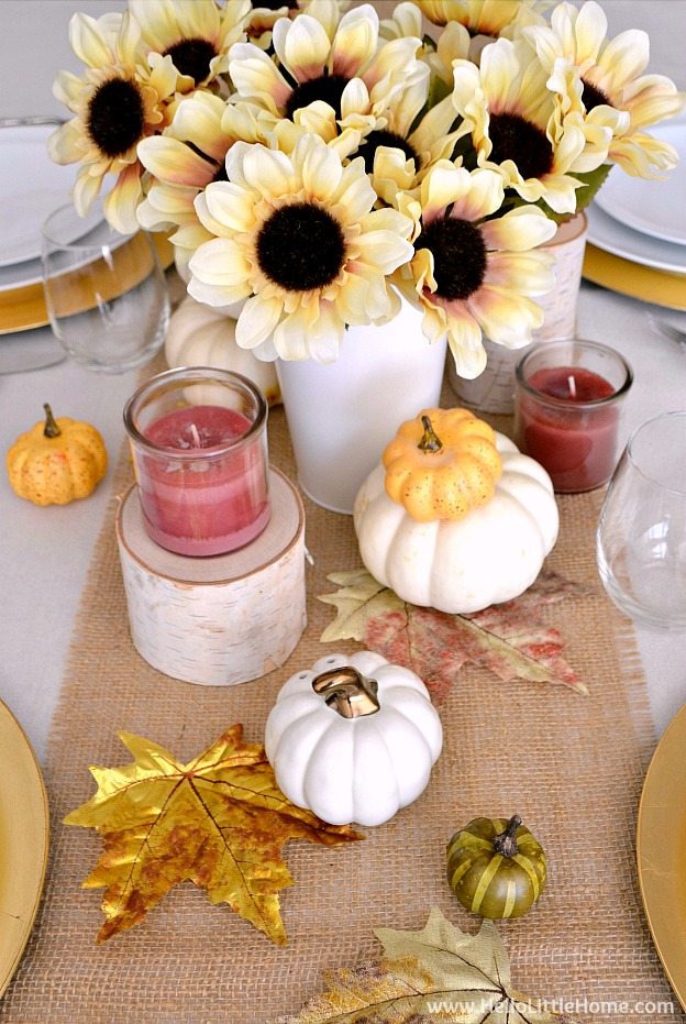 Fall Inspired Tablescape ... celebrate the season with a gorgeous and easy to create autumn inspired table setting! Plus, get my Free Printable Leaf Placecards!| Hello Little Home