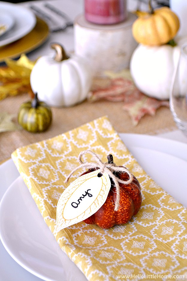 Close up of the leaf and pumpkin place cards.