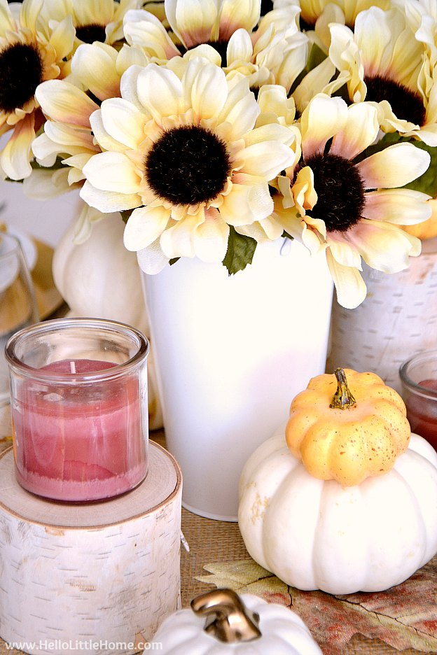 Close up of the fall inspired tablescape idea.