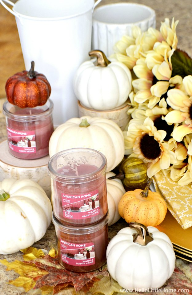 Easy step-by-step tutorial for creating a gorgeous Fall Inspired Tablescape! Plus, get my Free Printable Leaf Placecards! | Hello Little Home