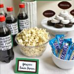 Drinks and food decorated with Football Party Printables.