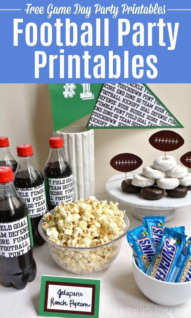A table, food, and drinks decorated with Football Party Printables.